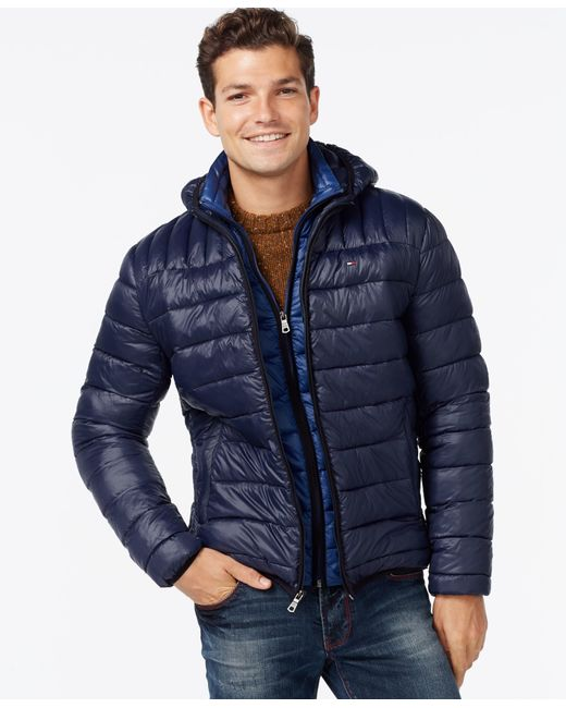 Tommy Hilfiger | Blue Hooded Packable Jacket for Men | Lyst