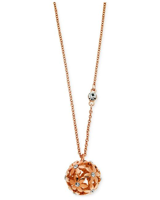 Guess   Pink Rose Gold-tone Floral Ball Pendant Necklace   Lyst