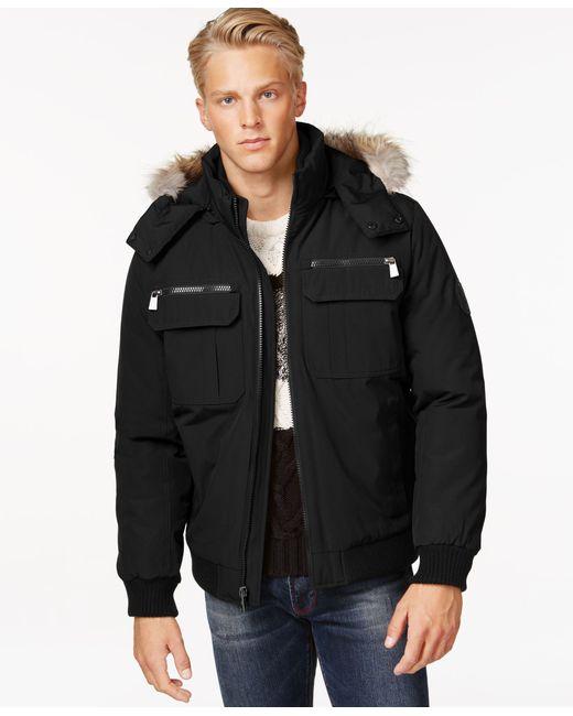 Calvin Klein | Black Bomber Jacket With Faux Fur Hood for Men | Lyst