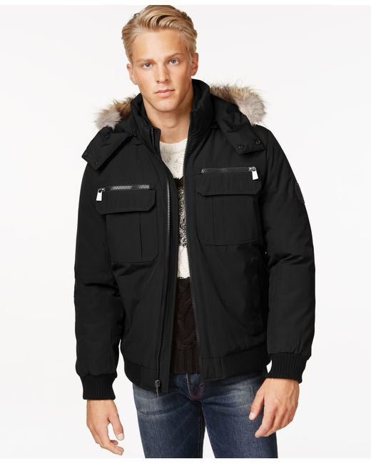 Calvin Klein | Black Bomber Jacket With Faux Fur Hood for Men | Lyst