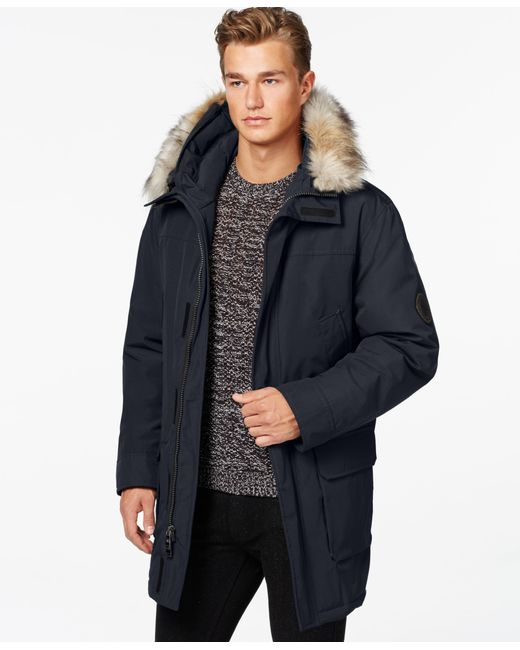 Calvin Klein | Blue Faux-fur Hooded Jacket for Men | Lyst