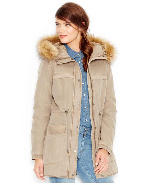 Levi's | Natural Faux-fur-trim Hooded Parka Jacket | Lyst