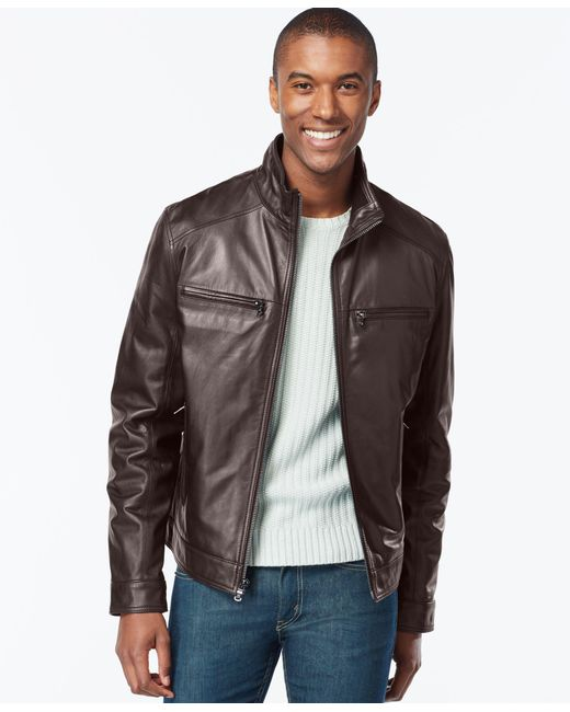Michael Kors | Brown Michael Hipster Leather Jacket for Men | Lyst