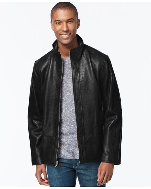 Marc New York | Black Zip-front Leather Jacket for Men | Lyst