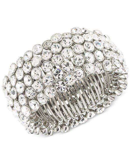 Carolee | Metallic Silver-tone Crystal Stretch Bracelet | Lyst