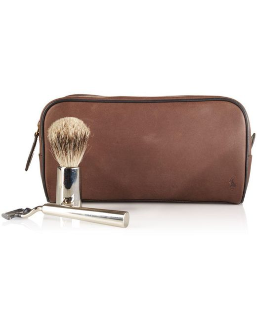 Polo Ralph Lauren | Brown Two-toned Leather Shaving Bag for Men | Lyst