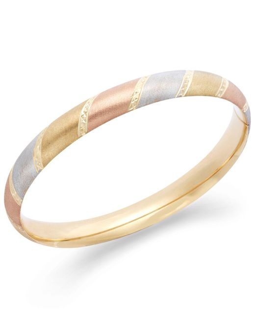 Macy's - Metallic Tri-tone Diamond-cut Bangle Bracelet In 14k Gold - Lyst