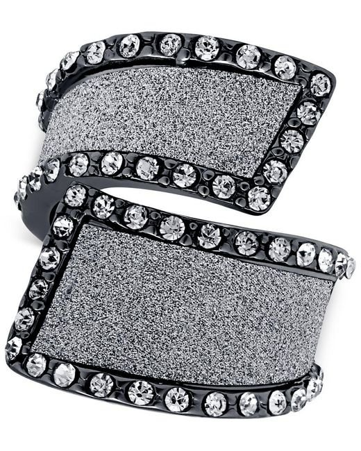 Guess | Metallic Hematite-tone Cocktail Stretch Ring With Clear Crystal And Glitter Swirl Accents | Lyst
