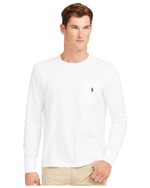 Polo Ralph Lauren   White Long-sleeved Jersey Pocket Crewneck for Men   Lyst
