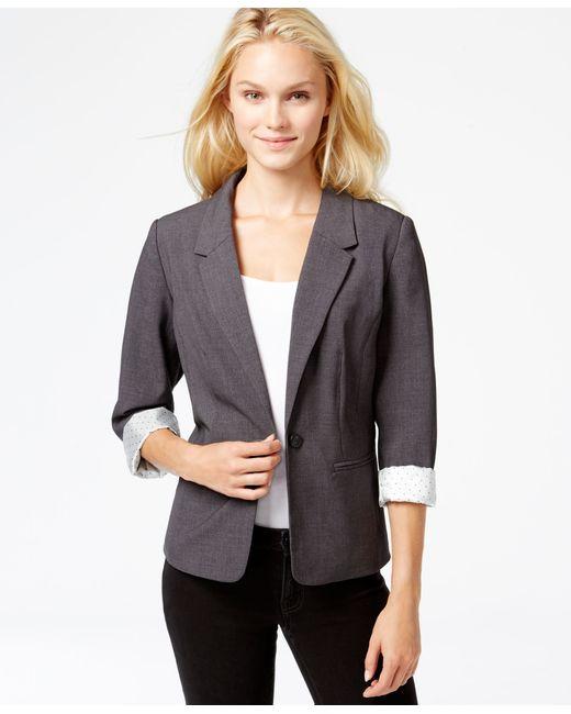 Kensie | Gray Long-sleeve Faux-pocket Blazer | Lyst