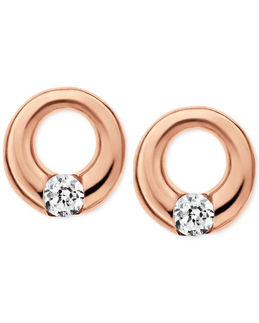 Skagen   Pink Elin Rose Gold-tone Circle Stud Earrings   Lyst