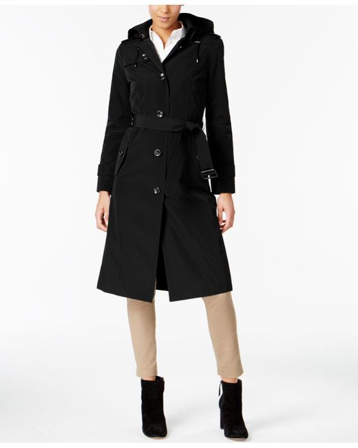 London Fog | Black Hooded Belted Trench Coat | Lyst