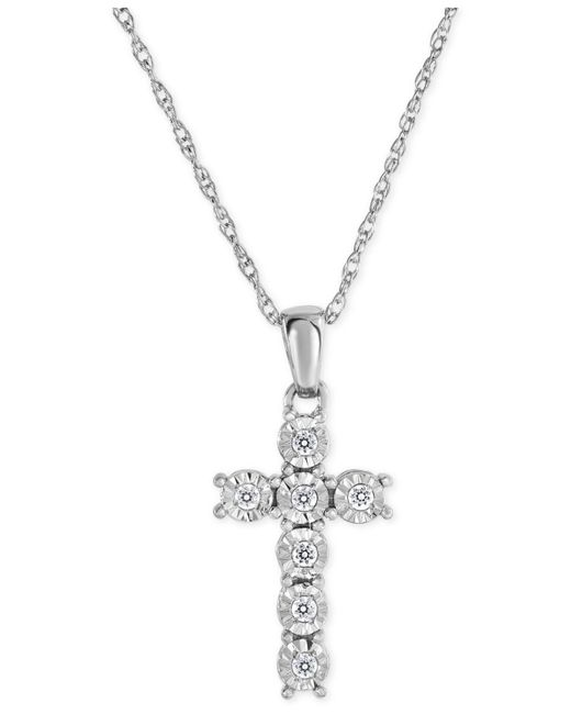 Macy's | Metallic Diamond Cross Pendant Necklace (1/10 Ct. T.w.) In Sterling Silver | Lyst