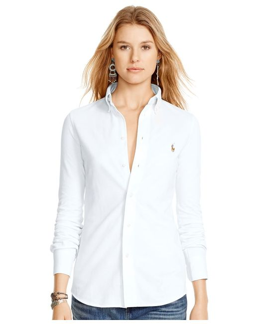 Polo Ralph Lauren   White Long-sleeve Knit Shirt   Lyst