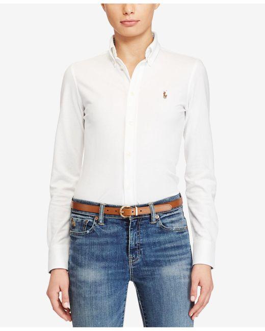 Polo Ralph Lauren | White Long-sleeve Button-front Shirt | Lyst