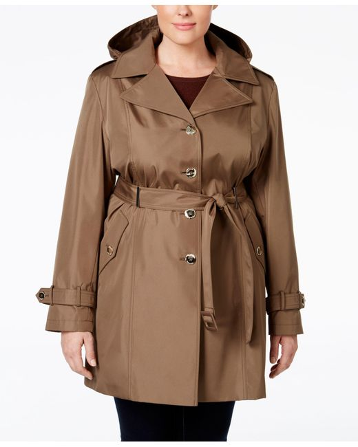 Calvin Klein   Brown Plus Size Hooded Single-breasted Trench Coat   Lyst