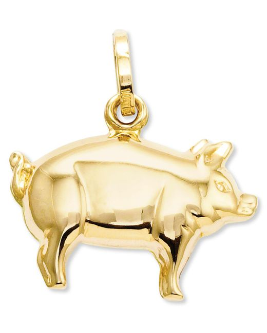Macy's - Metallic 14k Gold Charm, Pig Charm - Lyst