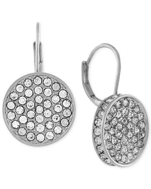 Vince Camuto | Metallic Silver-tone Crystal Disc Drop Earrings | Lyst