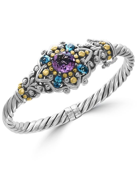 Effy Collection - Metallic Amethyst (3 Ct. T.w.) And Blue Topaz (2-1/6 Ct. T.w.) Bracelet In Sterling Silver And 18k Gold - Lyst