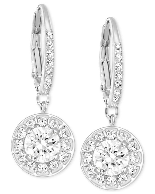 Swarovski | Metallic Silver-tone Crystal Stone Drop Earrings | Lyst