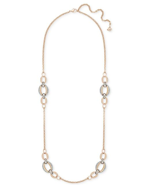 Swarovski | Metallic Two-tone Pave Link Detail Necklace | Lyst