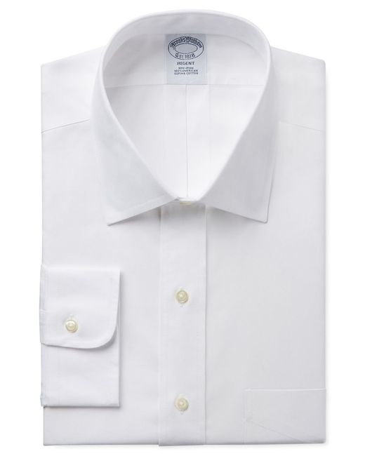 Brooks Brothers | White Regent Classic-fit Non-iron Pinpoint Solid Dress Shirt for Men | Lyst