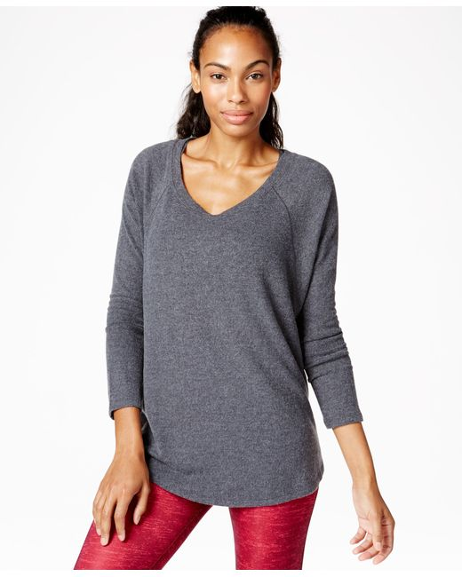 Calvin Klein | Gray Performance V-neck Top | Lyst