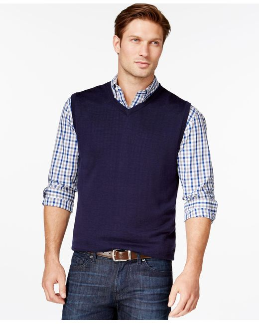 Cutter & Buck | Blue Douglas V-neck Sweater Vest for Men | Lyst