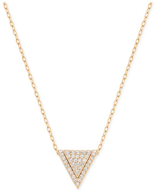 Swarovski | Metallic Rose Gold-tone Pavé Triangle Pendant Necklace | Lyst