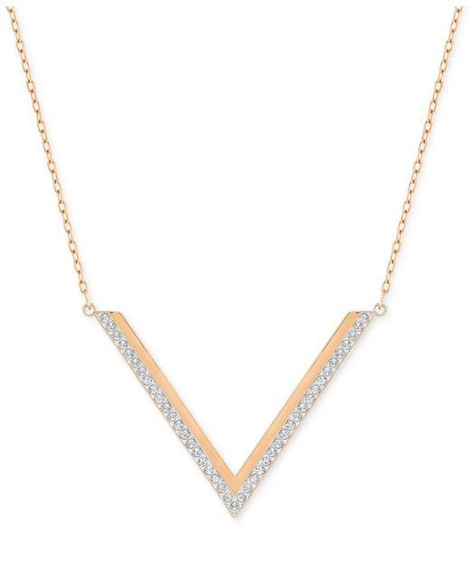 Swarovski | Metallic Rose Gold-tone Crystal Chevron Necklace | Lyst