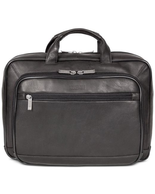 "Kenneth Cole Reaction | Black ""point Of De-port-ure"" Colombian Leather Laptop Briefcase for Men 