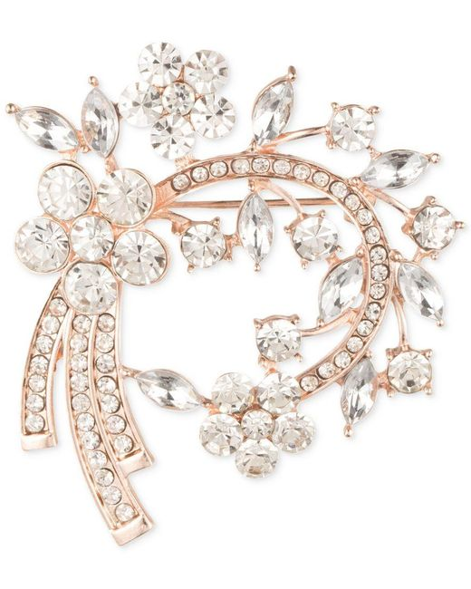 Anne Klein | Metallic Rose Gold-tone Multi-crystal Arched Pin | Lyst