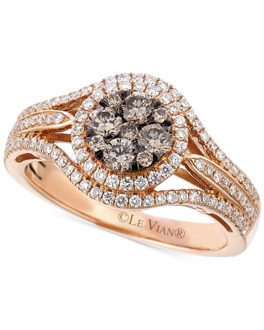 Le Vian | Pink Brown And White Diamond Ring (7/8 Ct. T.w.) In 14k Rose Gold | Lyst
