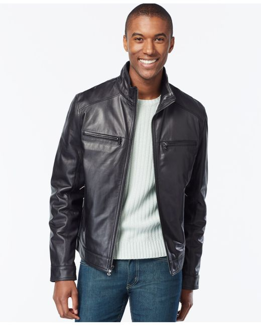 Michael Kors | Black Big And Tall Leather Jacket for Men | Lyst