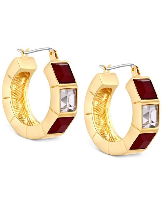 T Tahari | Metallic Gold-tone Red And Clear Crystal Hoop Earrings | Lyst