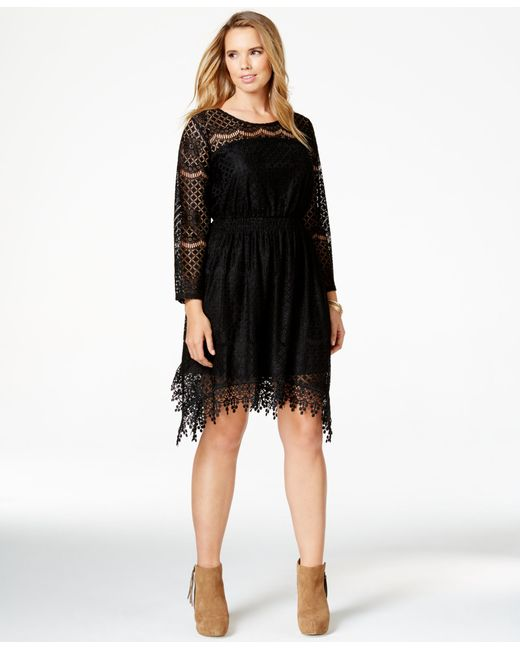 American Rag | Black Plus Size Handkerchief-hem Lace Dress, Only At Macy's | Lyst