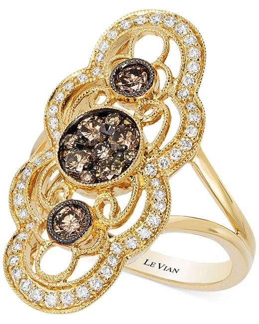 Le Vian | Metallic Chocolatier® Chocolate Deco Estate™ Gold Diamond (7/8 Ct. T.w.) Ring In 14k Gold | Lyst