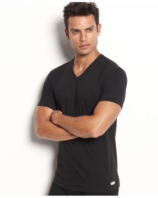 Calvin Klein | Black Men's Stretch-cotton V-neck T-shirt 2-pack for Men | Lyst