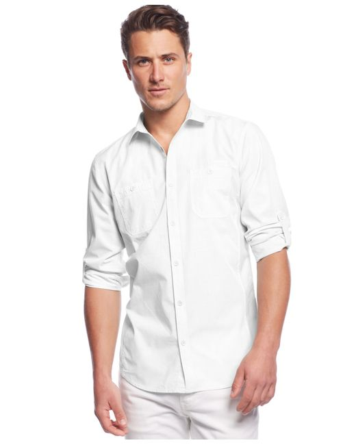 INC International Concepts | White Men's Work Striped Shirt for Men | Lyst