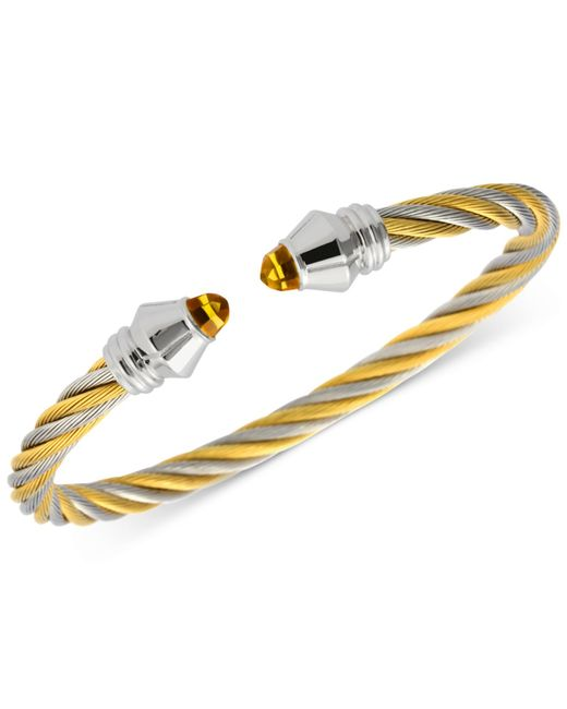 Charriol | Metallic Women's Fabulous Citrine Stone Two-tone Pvd Stainless Steel Cable Bangle Bracelet 04-821-1219-1m | Lyst