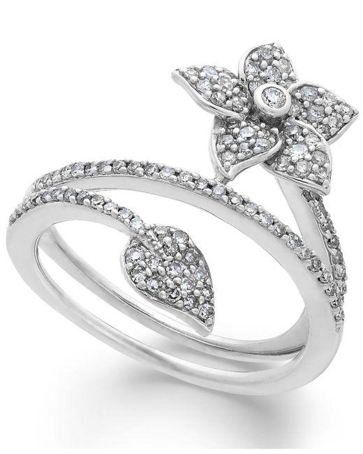 Macy's - Metallic Diamond Wrap-around Flower Ring In Sterling Silver (1/2 Ct. T.w.) - Lyst