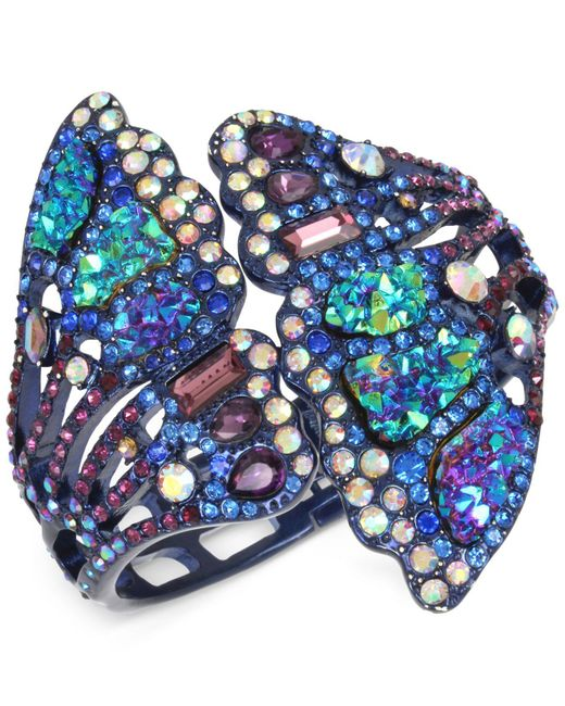 Betsey Johnson | Blue Purple-tone Multicolor Pavé Butterfly Wing Hinged Cuff Bracelet | Lyst