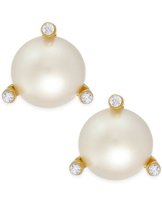 Kate Spade   Metallic Gold-tone Imitation Pearl And Crystal Stud Earrings   Lyst