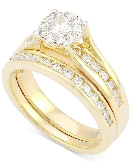 Macy s Diamond Bridal Channel Set 1 Ct T w In 14k White Gold in Red