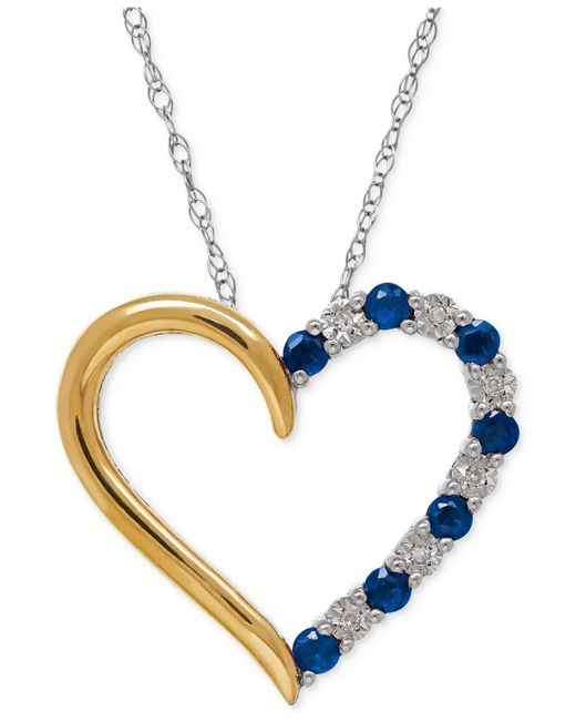 Macy's | Blue Sapphire (1/3 Ct. T.w.) And Diamond Accent Heart Pendant Necklace In 14k Gold And Sterling Silve | Lyst