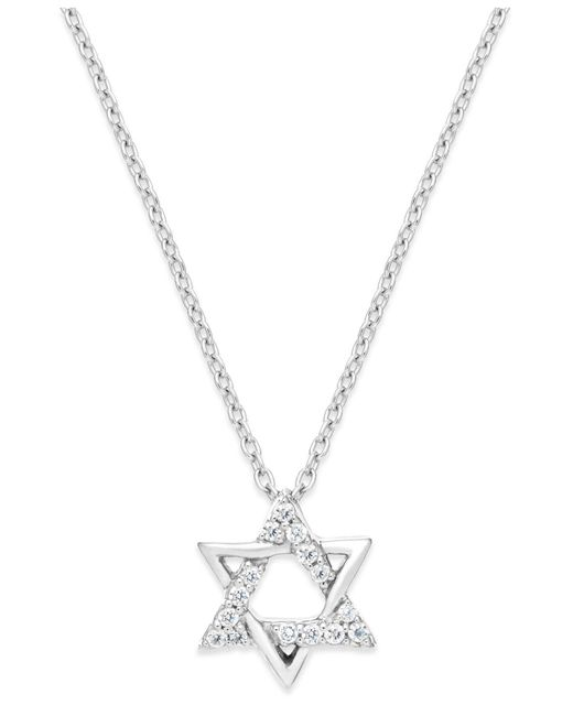 Macy's | Metallic Diamond Star Of David Pendant Necklace In Sterling Silver (1/10 Ct. T.w.) | Lyst