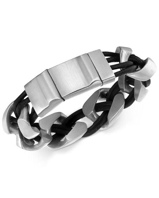 Macy's - Black Men's Linked Bracelet In Leather And Stainless Steel for Men - Lyst