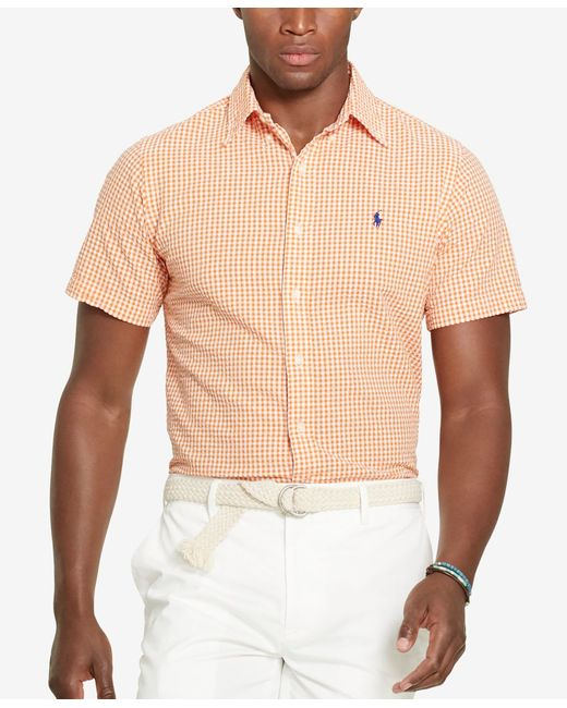 Polo ralph lauren men 39 s gingham seersucker short sleeve for Mens seersucker shirts on sale