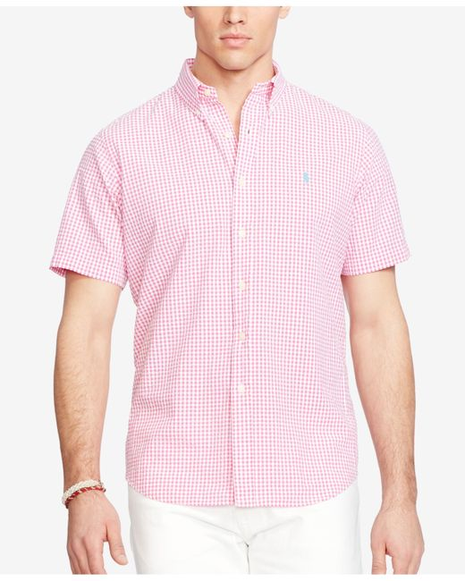 Polo ralph lauren short sleeve seersucker shirt in pink for Mens short sleeve seersucker shirts