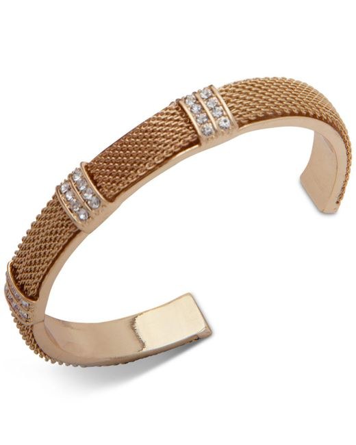 Anne Klein - Metallic Gold Pavé Mesh Cuff Bracelet, Created For Macy's - Lyst